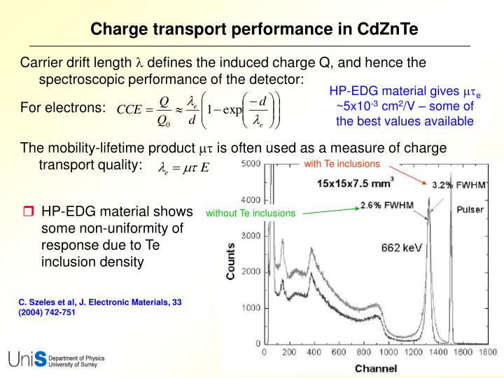 Charge transport performance in CdZnTe