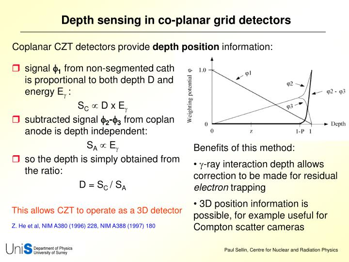 Depth sensing in co-planar grid detectors