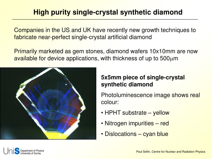 High purity single-crystal synthetic diamond