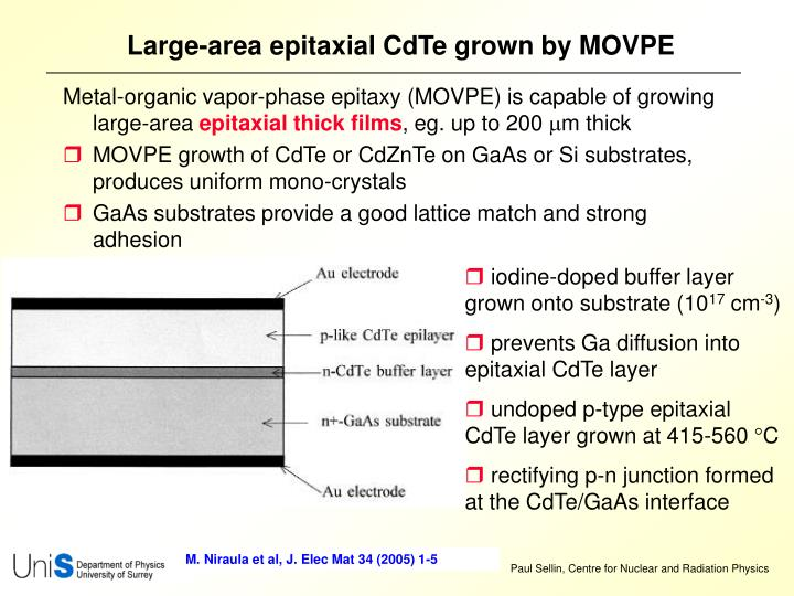 Large-area epitaxial CdTe grown by MOVPE