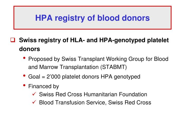 HPA registry of blood donors