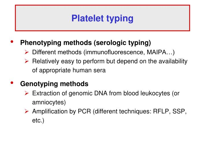 Platelet typing