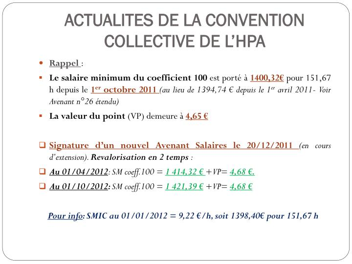 Actualites de la convention collective de l hpa