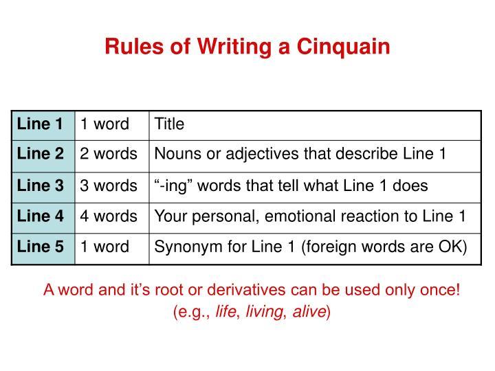 how to write a cinquain examples