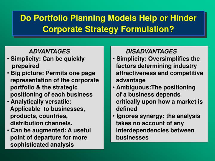 Do Portfolio Planning Models Help or Hinder Corporate Strategy Formulation?