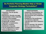 do portfolio planning models help or hinder corporate strategy formulation
