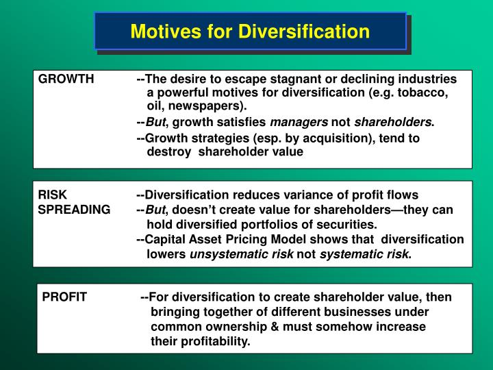 Motives for Diversification