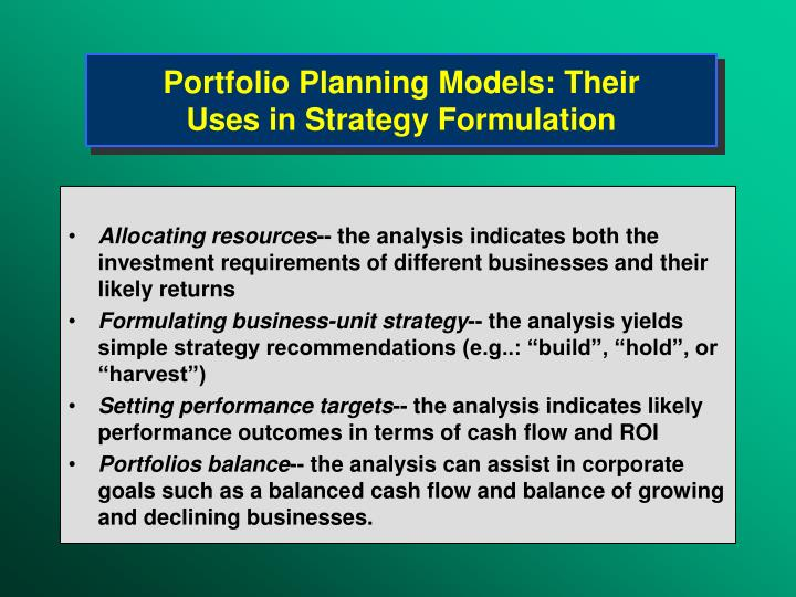 Portfolio Planning Models: Their