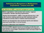 rethinking the management of multibusiness corporations lessons from abb