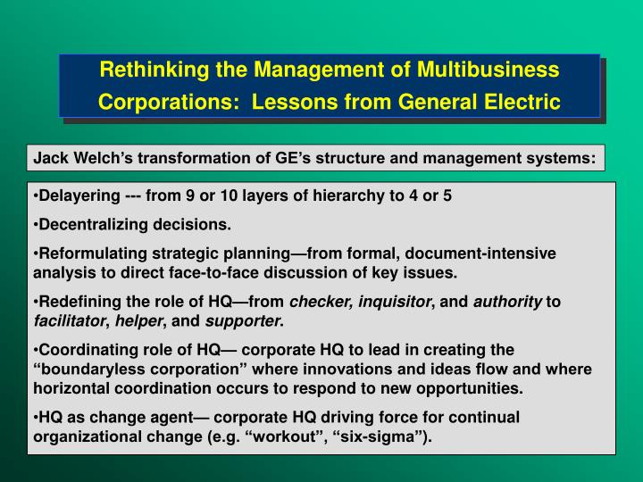 Rethinking the Management of Multibusiness Corporations:  Lessons from