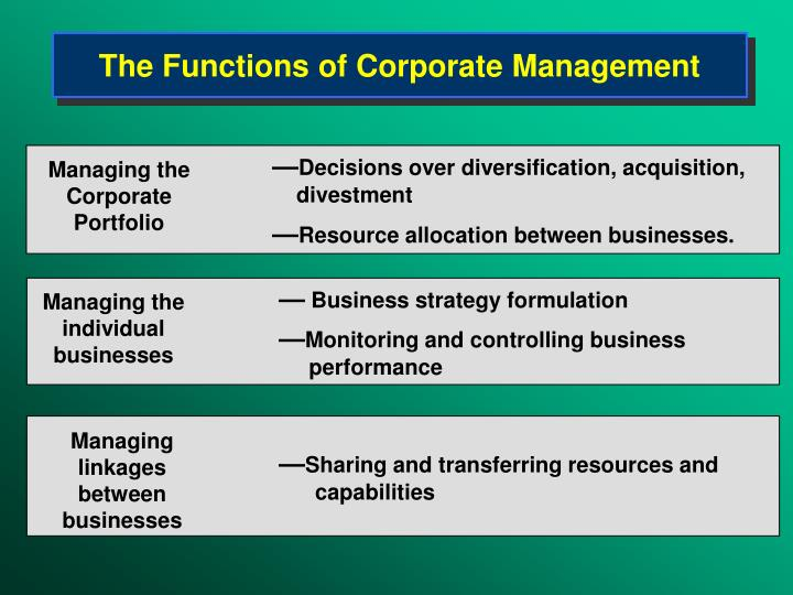 The Functions of Corporate Management