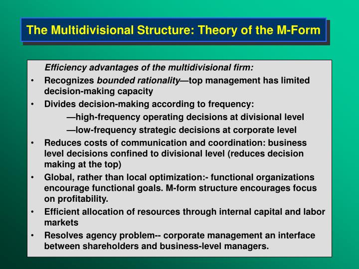 The Multidivisional Structure: