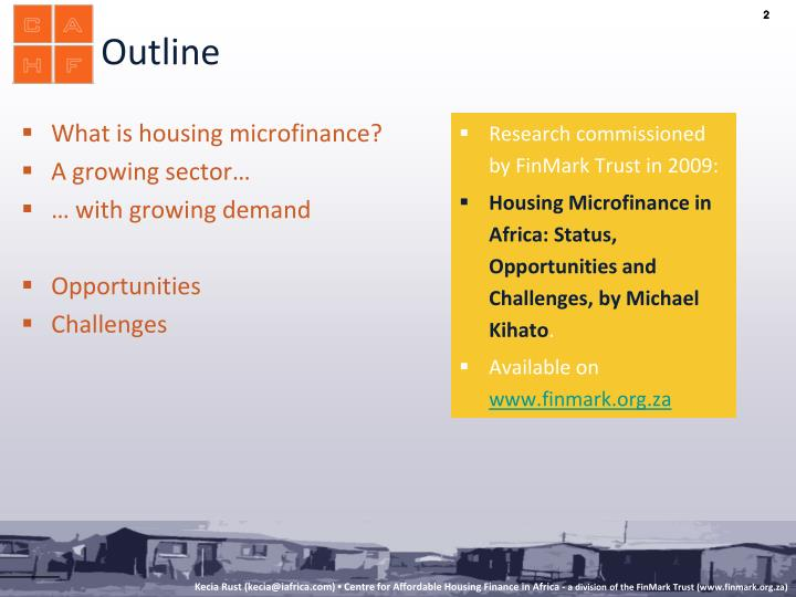 What is housing microfinance?
