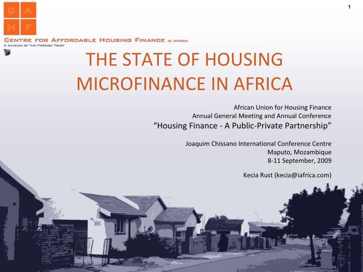 The state of housing microfinance in africa