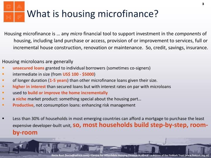What is housing microfinance