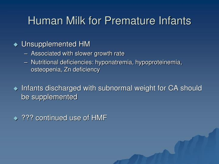 Human Milk for Premature Infants