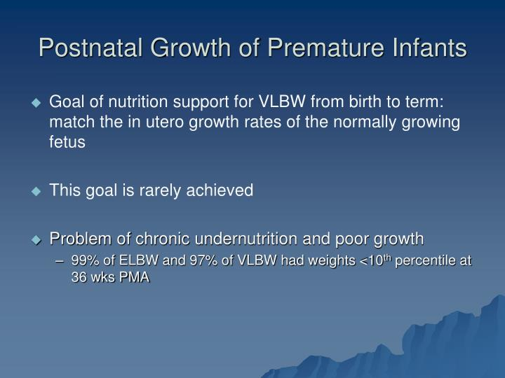 Postnatal growth of premature infants