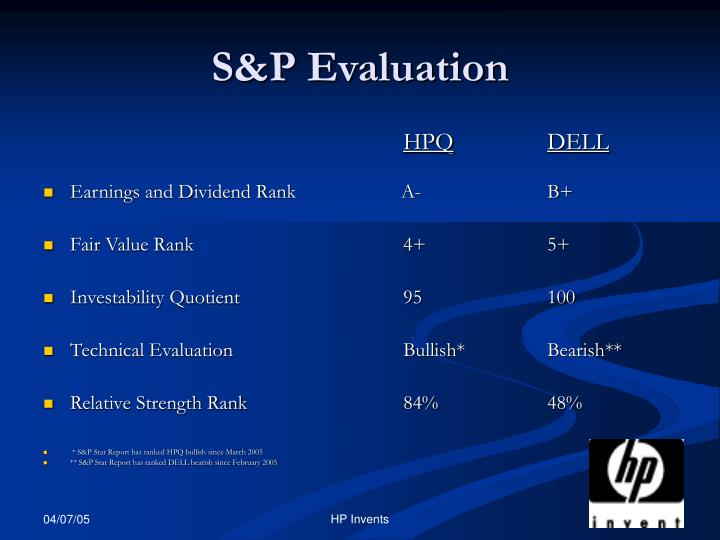 S&P Evaluation