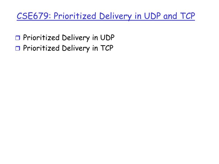 CSE679: Prioritized Delivery in UDP and TCP