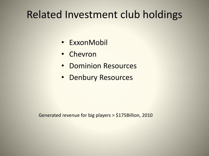 Related Investment club holdings