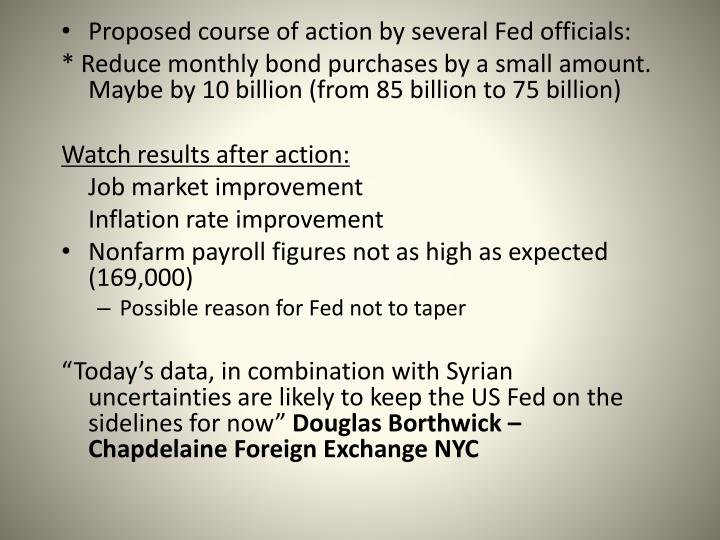 Proposed course of action by several Fed officials: