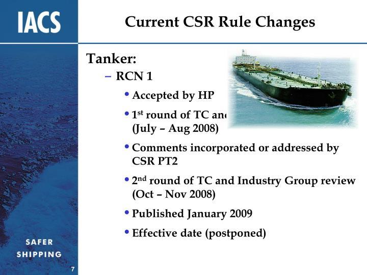 Current CSR Rule Changes