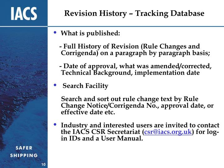 Revision History – Tracking Database