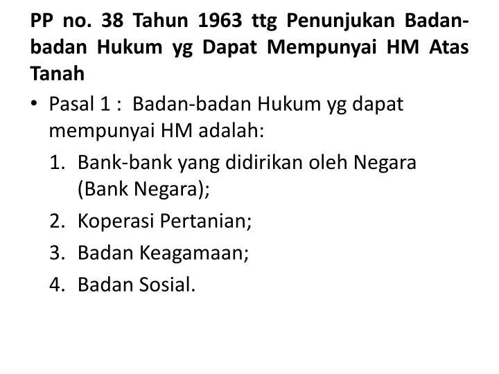 PP no. 38 Tahun 1963 ttg Penunjukan Badan-badan Hukum yg Dapat Mempunyai HM Atas Tanah