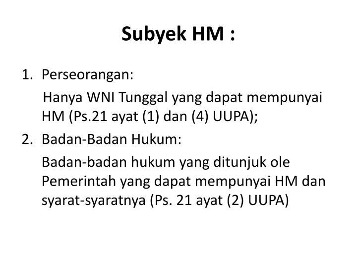 Subyek HM :