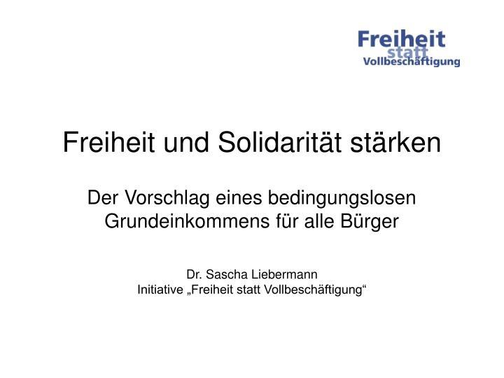 Freiheit und Solidarität stärken