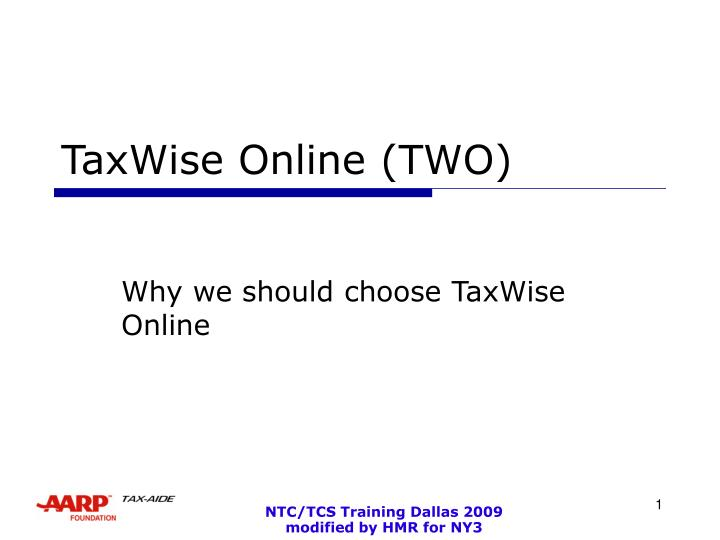 Taxwise online two