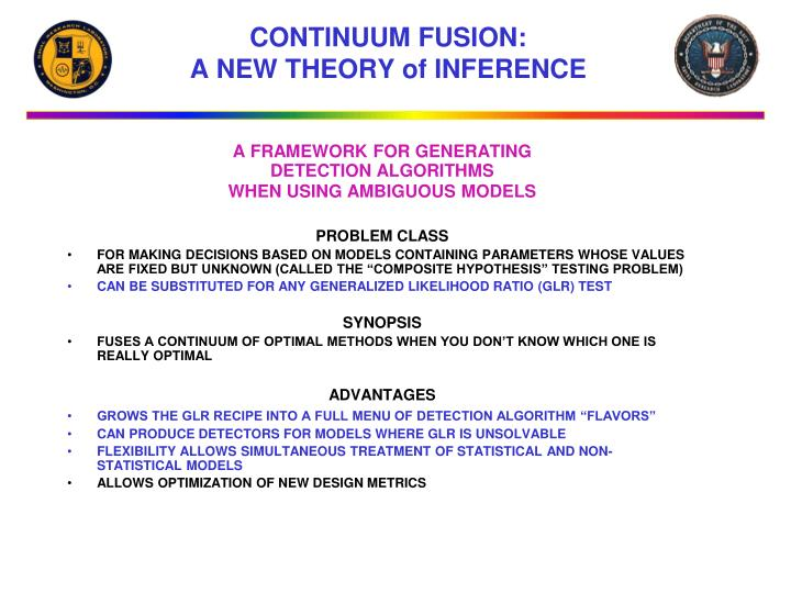 Continuum fusion a new theory of inference