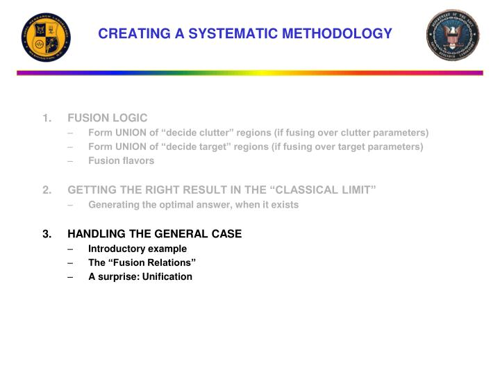 CREATING A SYSTEMATIC METHODOLOGY