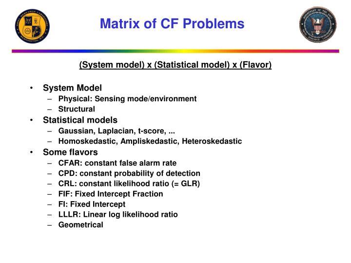 Matrix of CF Problems