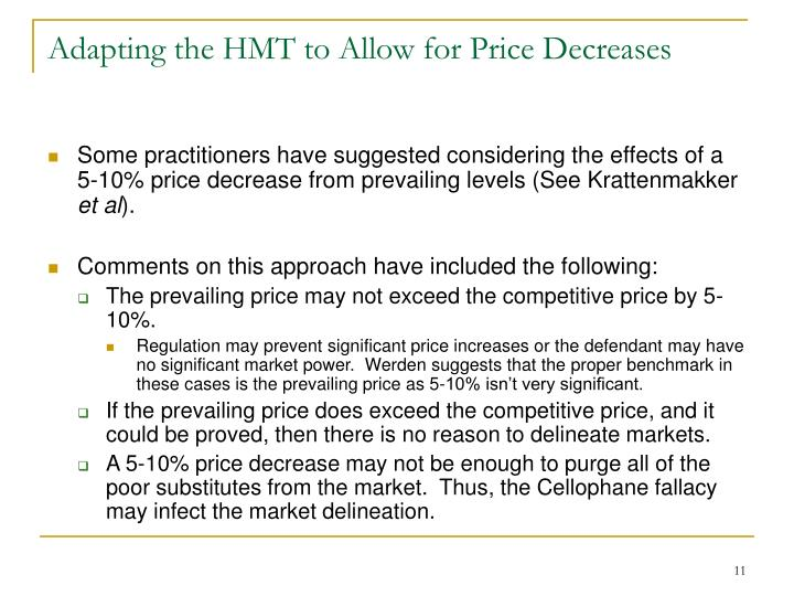 Adapting the HMT to Allow for Price Decreases