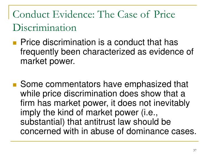 Conduct Evidence: The Case of Price Discrimination