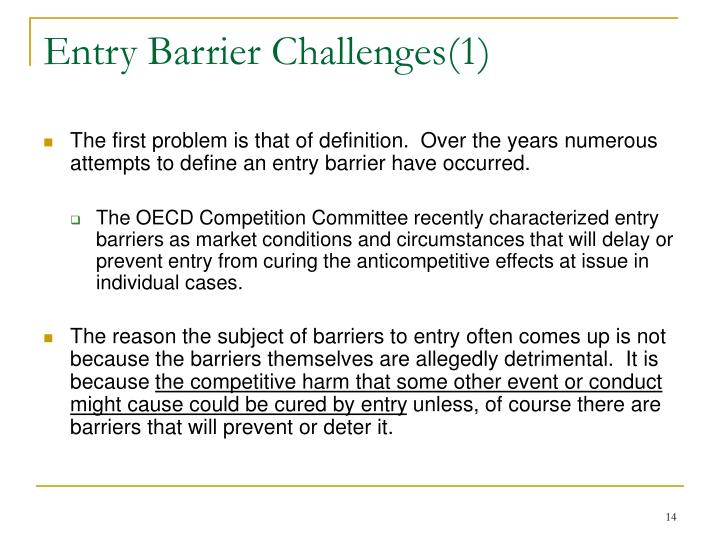 Entry Barrier Challenges(1)
