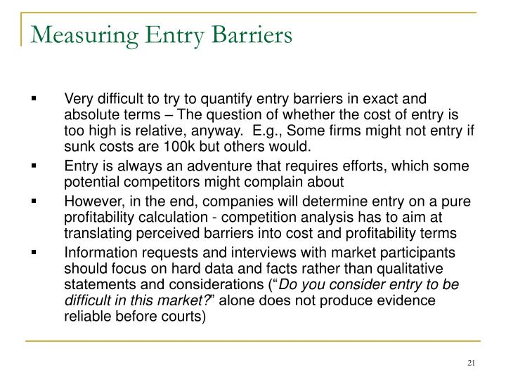 Measuring Entry Barriers