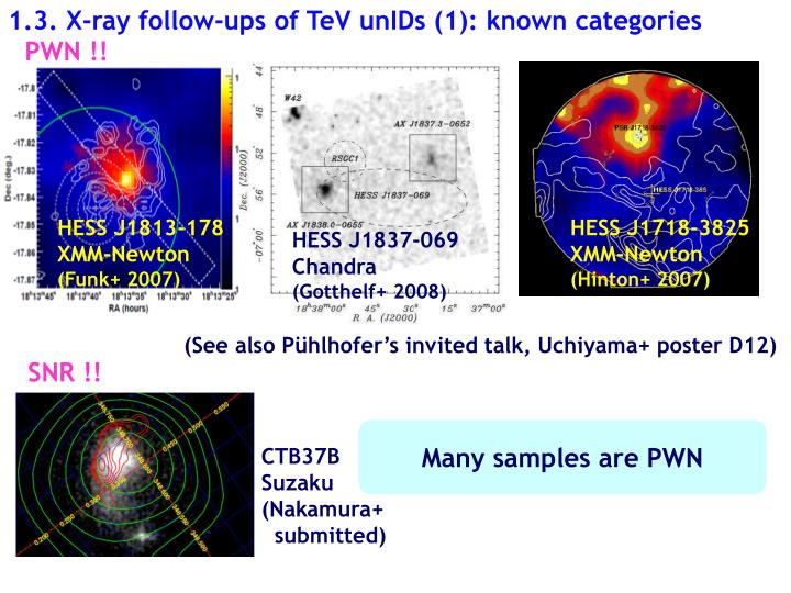 1.3. X-ray follow-ups of TeV unIDs (1): known categories