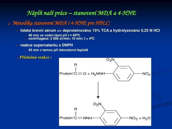 Metodika stanovení MDA i 4-HNE pro HPLC: