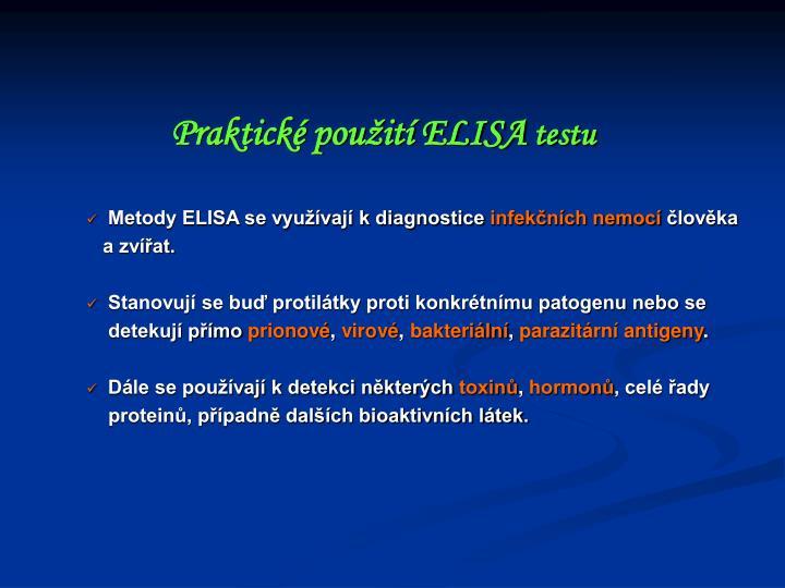 Praktické použití ELISA