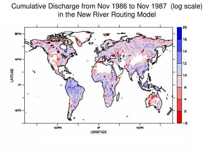 Cumulative Discharge from Nov 1986 to Nov 1987  (log scale)