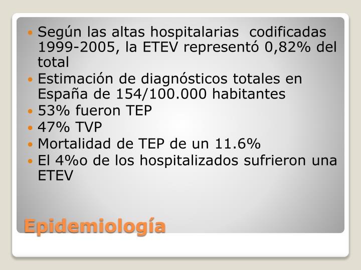 Según las altas hospitalarias  codificadas 1999-2005, la ETEV representó 0,82% del total