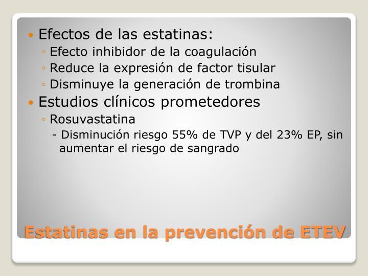 Efectos de las estatinas: