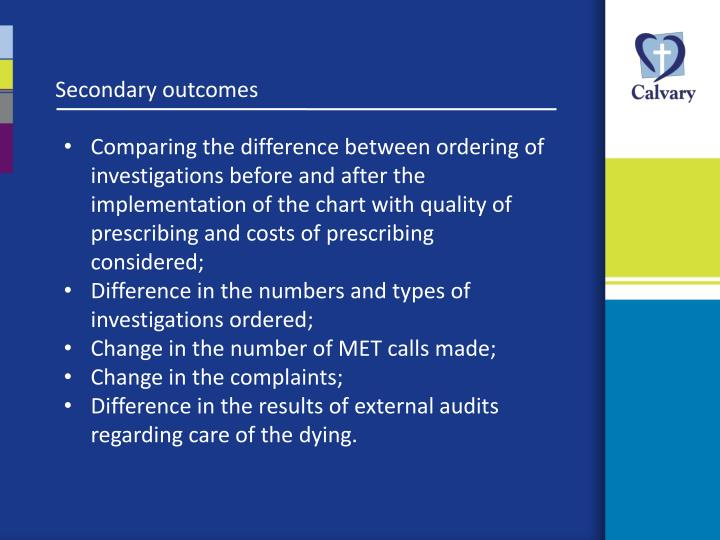 Secondary outcomes