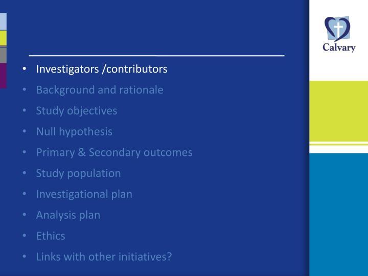 Investigators /contributors