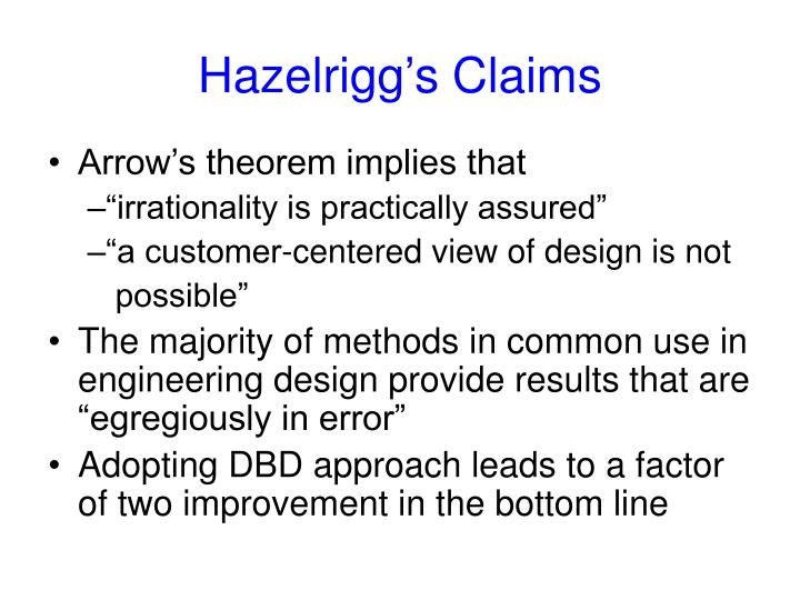 Hazelrigg's Claims