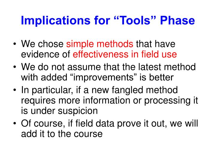 "Implications for ""Tools"" Phase"