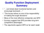 quality function deployment summary