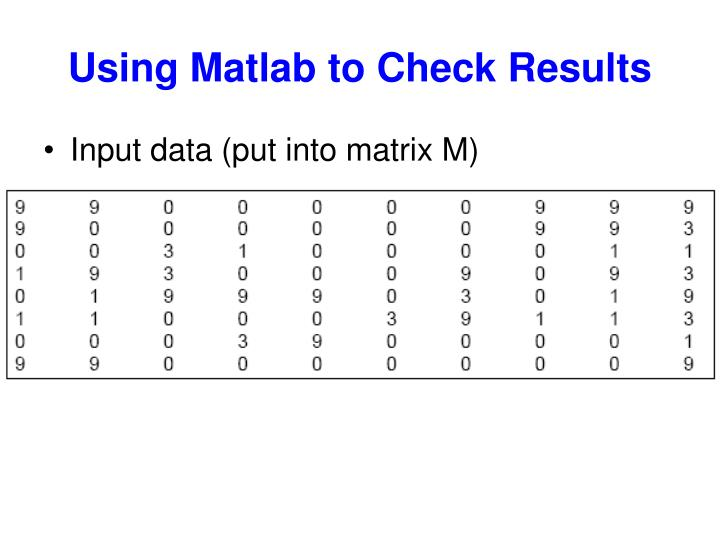 Using Matlab to Check Results